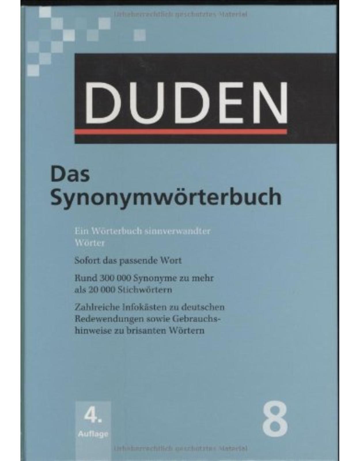 Der Duden in 12 Bänden - Band 08   Das Synonymwörterbuch